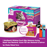 [Isi 12]Whiskas Adult 85 Gr rasa Mackerel & 1 Sheba Can Free Playhouse