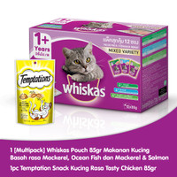 [Hot List] Isi 12 Whiskas Adult 85 Gr Mackerel + 1 Temptations Chicken