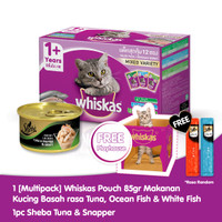 [Isi 12] Whiskas Adult 85 Gr rasa Tuna & 1 Sheba Can Free Playhouse