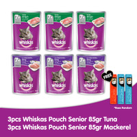 [Free 3 Sheba] 3 Whiskas Senior 85gr Tuna & 3 Whiskas Senior Mackerel
