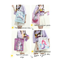 Tote bag sequin unicorn mermaid TU004 handbag tas tangan shoulder