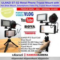 PAKET VLOG SMARTPHONE Lengkap Ulanzi Metal Mount Dual 96LED Mic Tripod