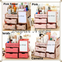 [RKR57] Rak Kosmetik Bahan Kayu CERMIN / cosmetic storage R57