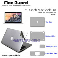 Skin Protector MacBook Pro 13 Touchbar - MacGuard 4pcs Set SPACE GREY