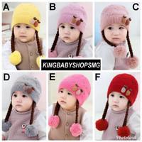 JTY12 Topi Rajut Kepang Rambut Palsu Import Anak Bayi Perempuan