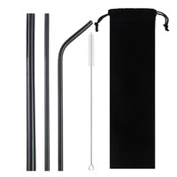 Set Stainless Steel Straws with Pouch (5pcs)