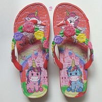 Sandal Jepit Anak Wanita Cewek Sendal Perempuan Karakter Unicorn Bunga
