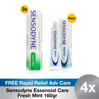Buy 3 Sensodyne Essensial Care Fresh Mint Jumbo FREE Rapid Relief