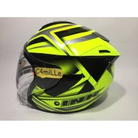 HELM INK DYNAMIC MOTIF 1 YELLOW FLUO SILVER HALF FACE