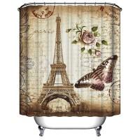 New 180x200cm Paris Kamar Mandi Shower Gorden Menara Eiffel