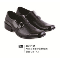 Sepatu Formal Pantofel Loafer Pria Hitam / Kulit / Fiber | JK- JAR-101