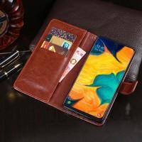 Flip Leather Case Samsung A50 Flipcase Cover Wallet Dompet Kulit