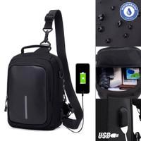 Tas Selempang Pria Slingbag Cross Body Razor USB Charging [TSJ504]