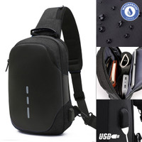 Tas Selempang Pria Slingbag Cross Body Ryden USB Charging [TSJ501]