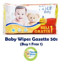 (Buy1 Free1) Tissue Basah PASEO Baby Wipes Gazette 50s