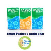 Tissue PASEO Smart Pocket 6Pack isi 12 Sheet - Tissue Murah Surabaya