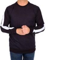 sweater pria polos list putih / baju kaos lengan panjang slimfit