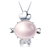Tiaria 18K Pink Crystal Rooster Perhiasan Liontin Emas dan Berlian