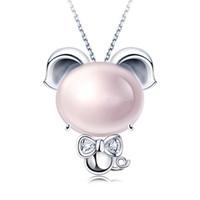 Tiaria 18K Pink Crystal Pig Perhiasan Liontin Emas dan Berlian