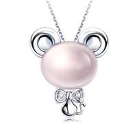 Tiaria 9K Pink Crystal Rat Perhiasan Liontin Emas dan Berlian