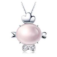Tiaria 9K Pink Crystal Rooster Perhiasan Liontin Emas dan Berlian