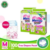Merries Pants Good Skin M 50S Twinpack FREE Pink Diaper Pouch