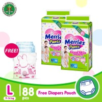Merries Pants Good Skin L 44S Twinpack FREE Pink Diaper Pouch