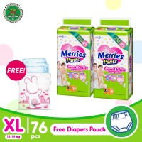 Merries Pants Good Skin XL 38S Twinpack FREE Pink Diaper Pouch