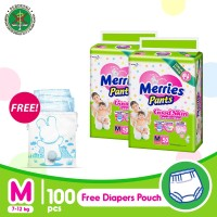 Merries Pants Good Skin M 50S Twinpack FREE Blue Diaper Pouch