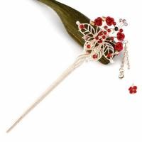 Hiasan Rambut Pesta Head Piece Tusuk Konde Chignon Roos Merah