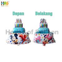 Balon Foil Cake Mickey Minnie Mouse 2 in 1 Mini 40 cm Blue Biru