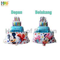 Balon Foil Cake Mickey Minnie Mouse 2 in 1 Jumbo 80 cm Blue Biru