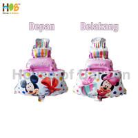 Balon Foil Cake Mickey Minnie Mouse 2 in 1 Mini 40 cm Pink