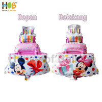 Balon Foil Cake Mickey Minnie Mouse 2 in 1 Jumbo 80 cm Pink