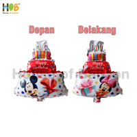 Balon Foil Cake Mickey Minnie Mouse 2 in 1 Mini 40 cm Red Merah