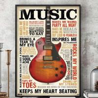 Poster Gitar Musik Music Guitar Retro Ukuran Besar 60x90cm