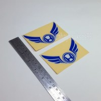 Sticker Cutting Logo Motor HONDA SAYAP Wings Biru 10cm Stiker Emblem