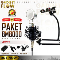 Mic Microphone Condenser BM-8000 PAKET RECORDING + Stand