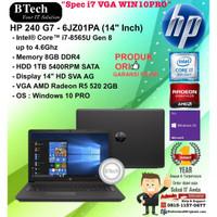 "HP 240 G7 - 6JZ01PA (14"" Inch) Core i7-8565U/8GB/1TB/VGA/WIN10PRO/1YR"