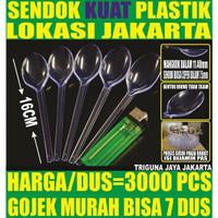 Sendok makan bening 3000 pcs per dus plastk panjang kuat murah Jakarta
