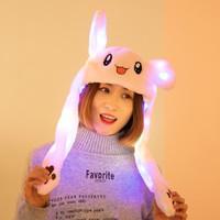 LED Korean Bunny Hat/ Topi Kelinci Dancing Magic Ear Topi Tiktok Korea