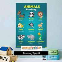 Poster Belajar Seri Binatang tipe 07 Mainan Anak Edukatif Edukasi