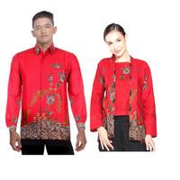 Sarimbit Couple Gamis Batik Ungguil Jaya Eksklusif Merah