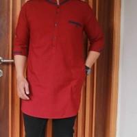 Bermerk Fashion Muslim Baju Modern Koko Pria Katun Biru Tua GMS156