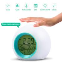 Jam Weker/jam meja alarm/digital Sensor Temperature 7 warna led