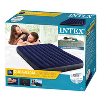 PAKET Kasur Angin DELUXE Dura-Beam INTEX QUEEN +POMPA INTEX +LEM 64709