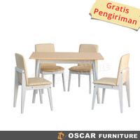 Oscar Furniture - Dining Set Genoa 120 Putih, 1 Meja & 4 Kursi