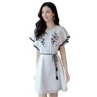 Dress Sifon Gaya Korea Variasi Renda Model Terbaru - JFSH Elsi - Putih