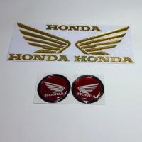 Sticker Motor Timbul Logo Wings Sayap Honda Gold Stiker Bulat Merah
