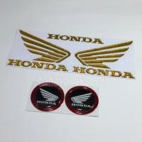 Sticker Motor Timbul Logo Wings Sayap Honda Gold Stiker Bulat Black